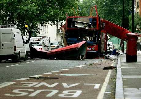 A front view of the bus which was destroyed by a bomb in London on Thursday, is seen Friday July 8 2005.