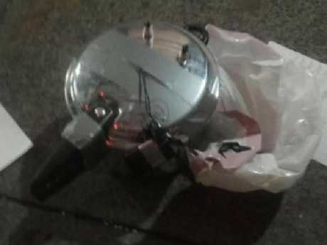A pressure cooker in Chelsea, New York City, that was used as a bomb.