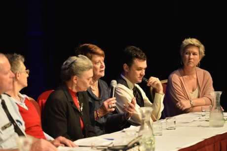 Centenary Heights State High School principal Maryanne Walsh (with microphone) on the panel as Toowoomba Together host a community information night focusing on hypothetical domestic violence scenarios at the Armitage Centre at Empire Theatres.