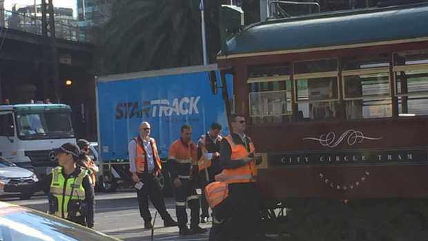 The City Circle tram and a truck have collided in Melbourne's CBD. Picture: Denis O'Kane.