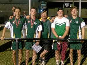 PICKED: Brisbane Valley Soccer Club players Zac Heck, Lucas Wallwork, Sam Jaremenko and Aaron Schultz with coach John Wallwork.