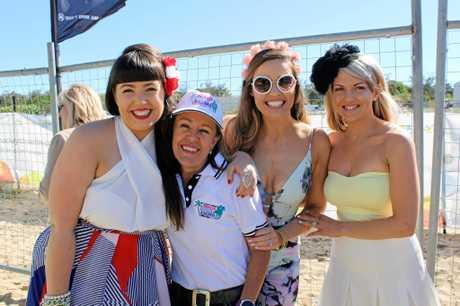 Ali Evangelou, Mackay Airport Beach Horse Racing Festival organiser Chrissy Evangelou, Brittany Beer and Meg Middleton.