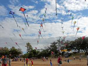 ON AGAIN: Kites on display at the Sarina Beach Coconut Festival last year.