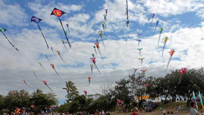 ON AGAIN: Kites on display at the Sarina Beach Coconut Festival last year.