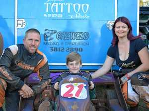 SHARED PASSION: Kensington Grove family Shane, Kallan and Larissa Manning all competed at the Lockyer Valley Speedway meet on Saturday.