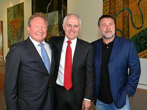 Fortescue Metals Group CEO and philanthropist Andrew 'Twiggy' Forrest, Prime Minister Malcolm Turnbull and actor Russell Crowe at an event unveiling one of Australia's largest philanthropic donations to fund a variety of social and scientific causes at Parliament House in Canberra, Monday, May 22, 2017. (AAP Image/Mick Tsikas) NO ARCHIVING