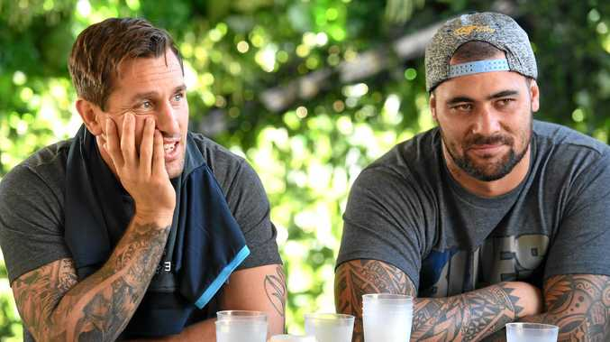 NSW State of Origin players Mitchell Pearce (left) Andrew Fifita relax in camp ahead of next Wednesday's series opener.