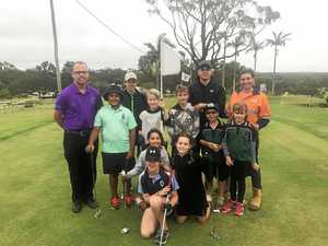 PRO LESSONS: (Back) James Hutchison, Jesse Hampton, Oscka Sargood, Seth Guyton, Dylan Wilson, Alex Brook, Lachlan Edwards, Tahnee Pietzner, Kristy Marks from BMA and (front) Taliee Hampton, Ellie Sargood and Shelby Pietzner at the junior clinic.