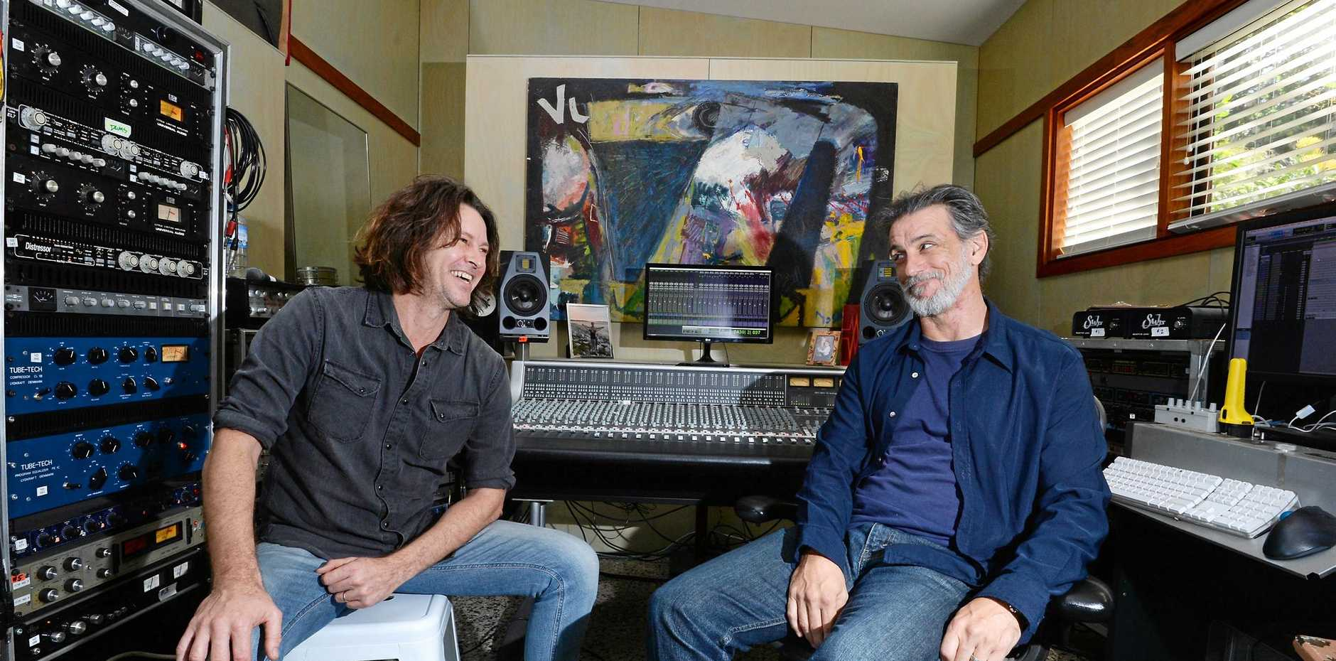 Australian musician Bernard Fanning with American record producer, engineer and mixer Nick DiDia in their Tyagarah studio.