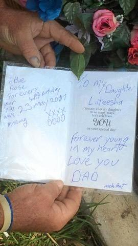 Mick Peet leaves  heartfelt words at his daughter's resting place.