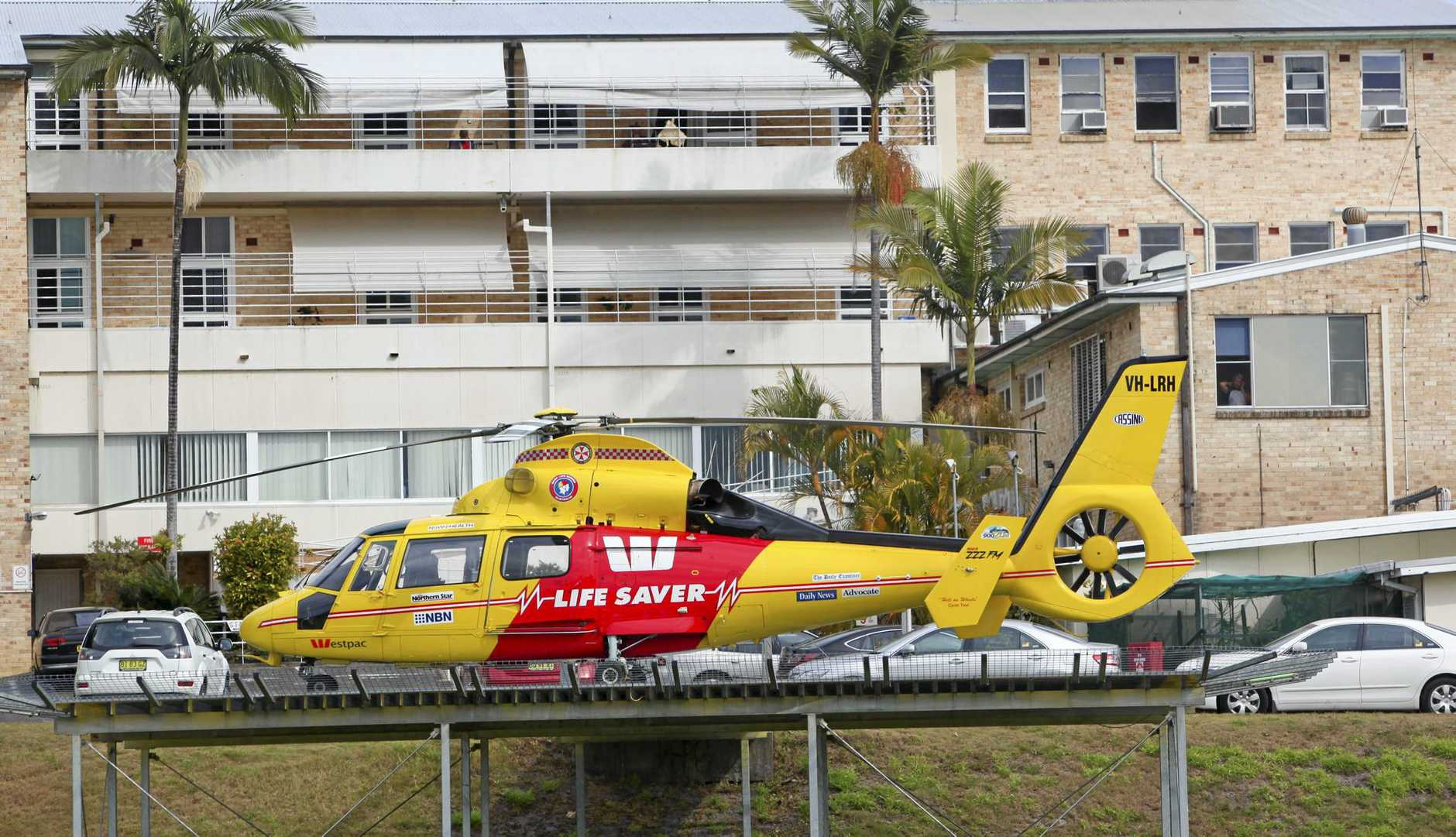 The Westpac Rescue Helicopter waits at Maclean Hospital.Photo: Adam Hourigan/The Daily Examiner