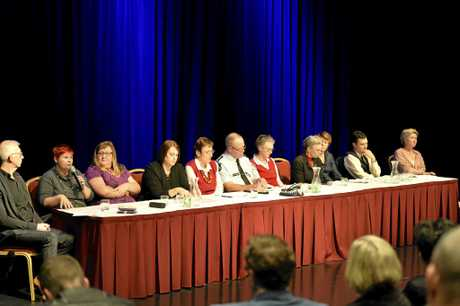 The panel (from left) Pastor Brendan Kelly, Sonya Kupfer, Karen Fernie, Deanna Church, Dr Pat Stuart, Insp Steve Angus, Kelly Buckingham, Vicki Drummond, Maryanne Walsh, Darren Lewis and Shelley Bradford as Toowoomba Together host a community information night focusing on hypothetical domestic violence scenarios at the Armitage Centre at Empire Theatres.