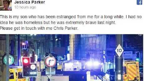 The Facebook post by Chris Parker's estranged mother asking him to make contact.