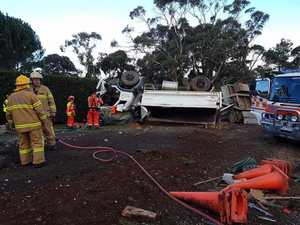 Driver injured in rollover at Mount Macedon Victoria this afternoon.