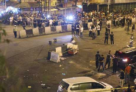 A SUICIDE bombing attack outside a busy bus terminal in the Indonesian capital Jakarta has killed three police officers, the latest assault to hit the Muslim-majority country as it struggles with a surge of terror plots.