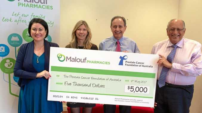 GENEROUS DONATION: Megan Cairney (The Prostate Cancer Foundation of Australia), Di Robinson (Malouf Pharmacies General Pharmacy Buyer), Ian and Richard Malouf (Owners of Malouf Pharmacies)