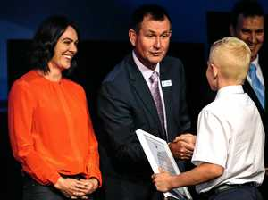 SUPPORT: Samantha Riley and  Lindisfarne principal Stuart Marquardt congratulate a student .