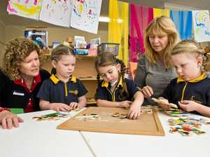 FUN FOR ALL: Fairholme College Kindergarten educator Jo Darbyshire (left) and Sonya Nicol (second right) with students Charlotte Moore-Barnard, Isabella Hall and Lily Macdonald.