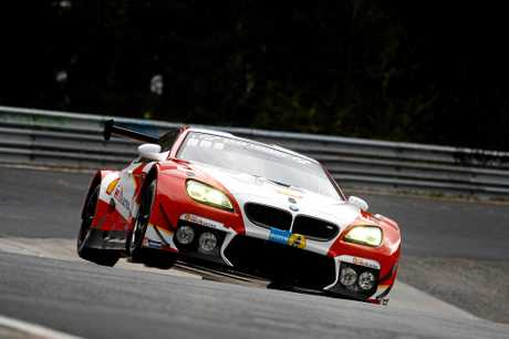 BMW M6 GT3 prepares for the 24-hour race at the Nurburgring.