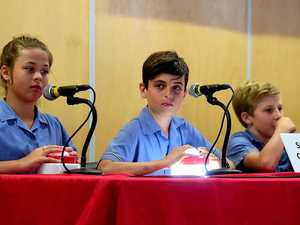 SWITCHED ON: Summah Quinlan, Luke McNally and Noah Connell competing at the Quest for Knowledge event in Townsville.
