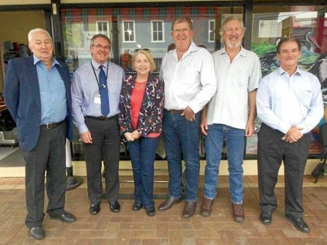 From left, former Maclean Shire Council president, John Harvey, Clarence Valley Council acting general manager, Ashley Lindsay, Cr Karen Toms, Cr Andrew Baker, Cr Greg Clancy and Mayor Cr Jim Simmons, at a councillor meet and greet in Maclean last week.
