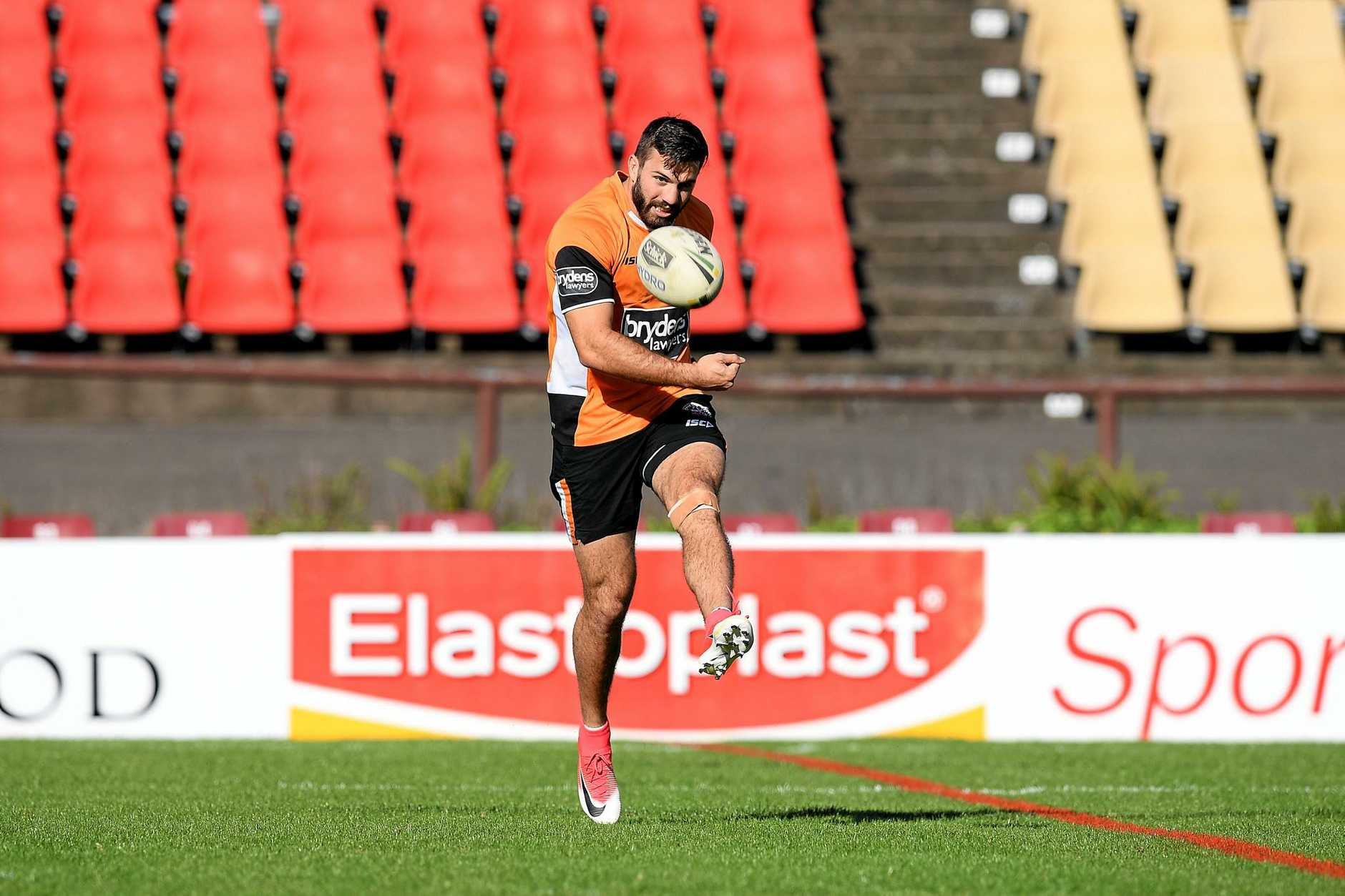 Wests Tigers player James Tedesco takes part in a training session at Concord Oval.