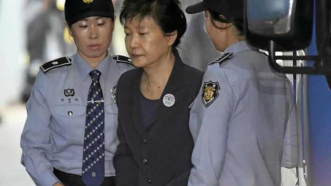Former South Korean president Park Geun-hye arrives at the Seoul Central District Court on Thursday.