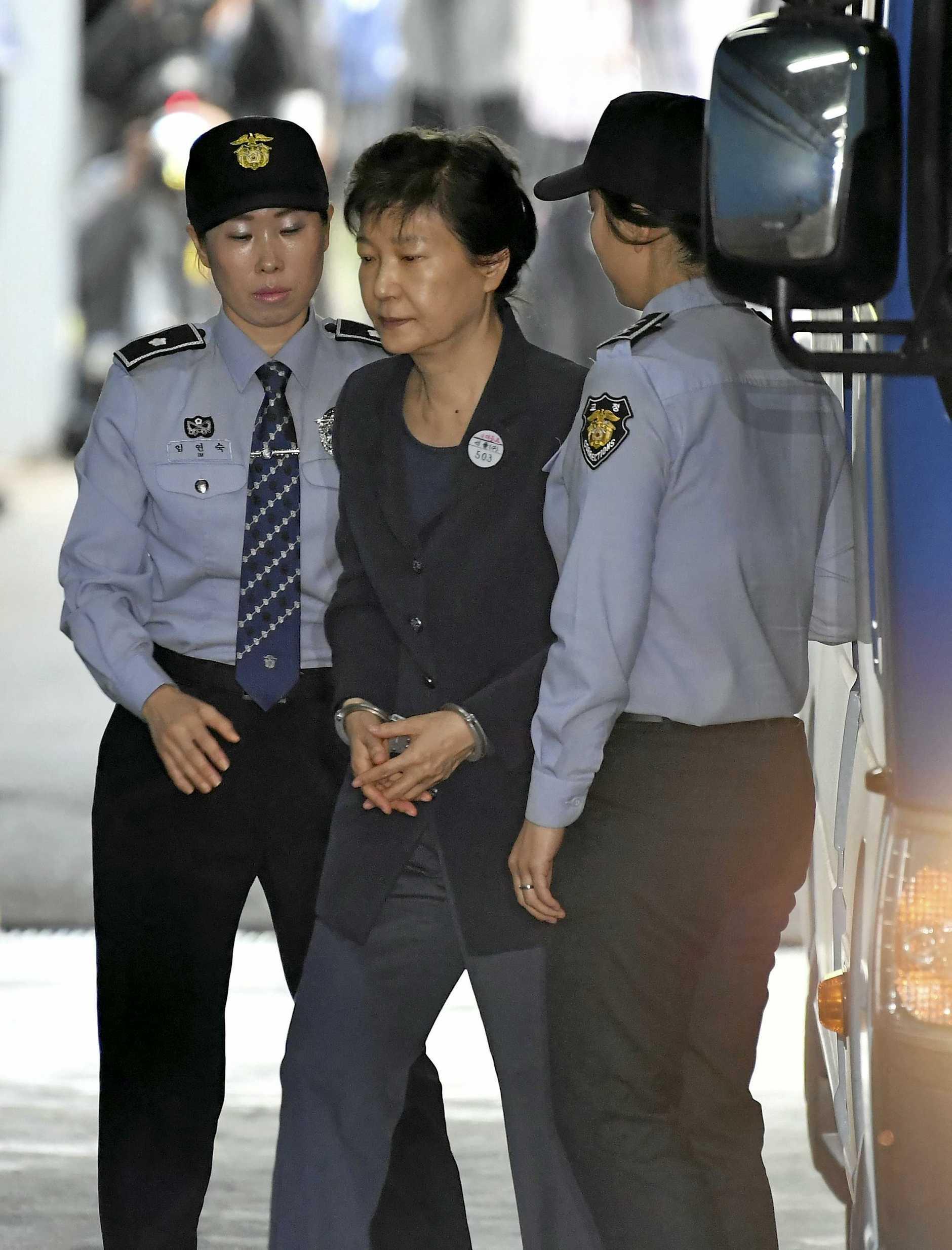 Former South Korean president Park Geun-hye arrives at the Seoul Central District Court on Thursday.