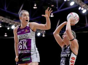 Laura Clemesha (left) of the Firebirds puts pressure on Cody Lange of the Magpies.