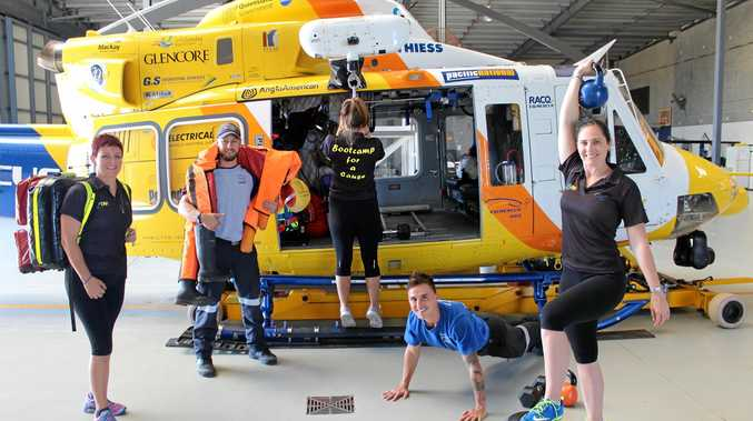 RPTM personal trainer Vanessa Creeley, RACQ CQ Rescue Air Crewman Quinton Rethus, RPTM trainer Billie-Jane Frost, Rescue Crewman Arno Schoonwinkel and RPTM owner Linda Rankin are ready to raise funds for the region's rescue helicopter at Bootcamp for a Cause.