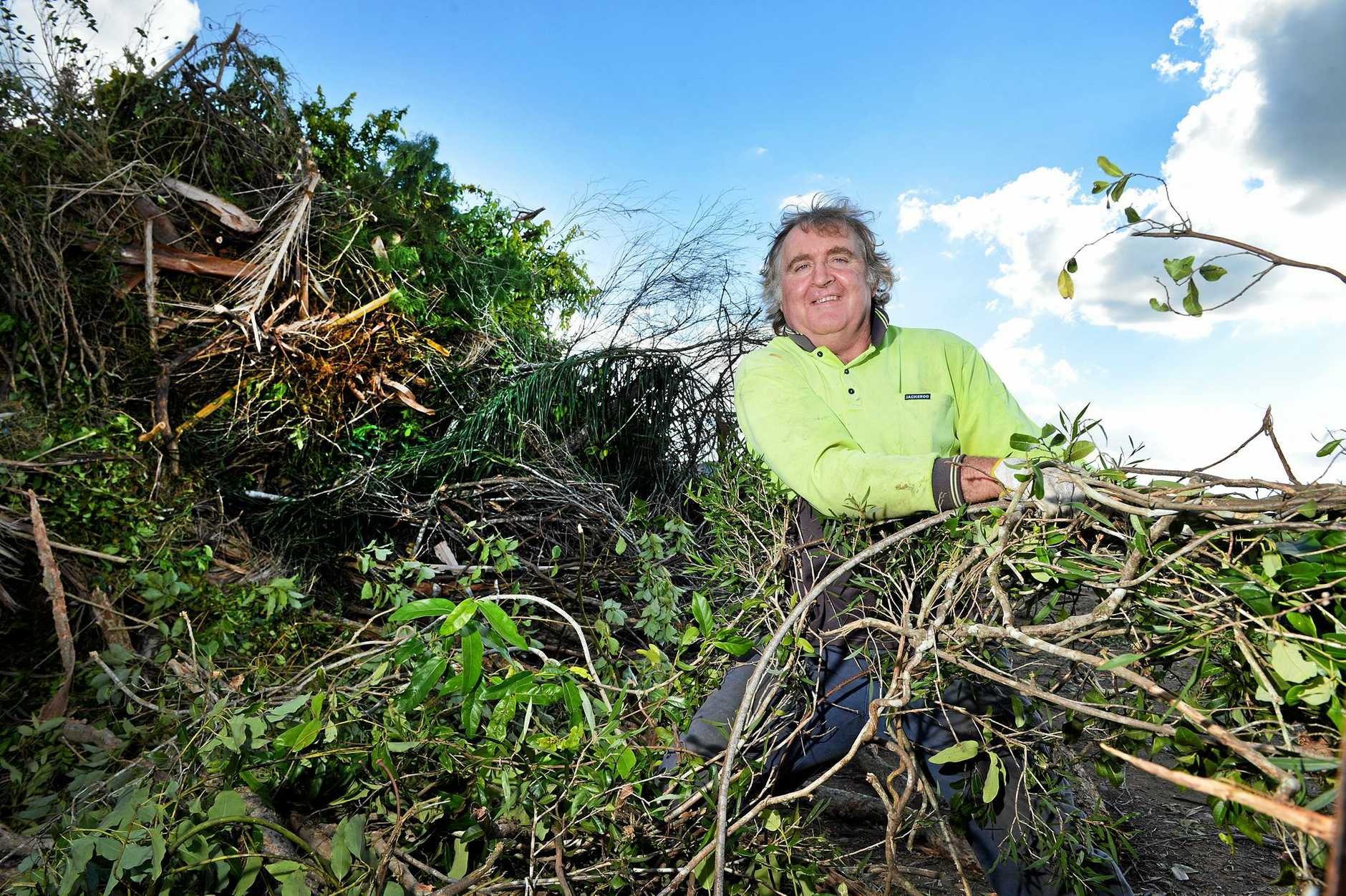 DOWN AT THE DUMP: Warren Robinson emptying his trailer at the Bonnick Rd green waste dump in Gympie.