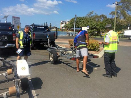 Police and government departments checked vehicles and vessels at four boat ramps at Golden Beach on March 12.