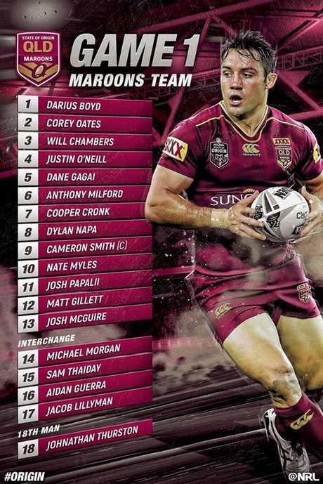 Queensland Maroons State of Origin line up for 2017.