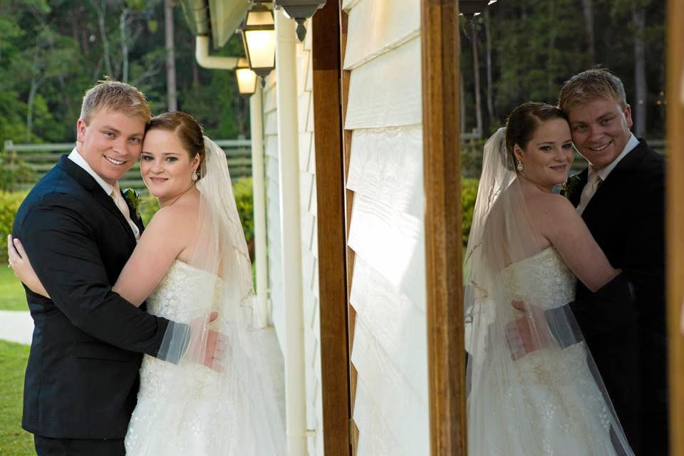 Renee Falconer with her husband, Adam, on their wedding day in 2013.