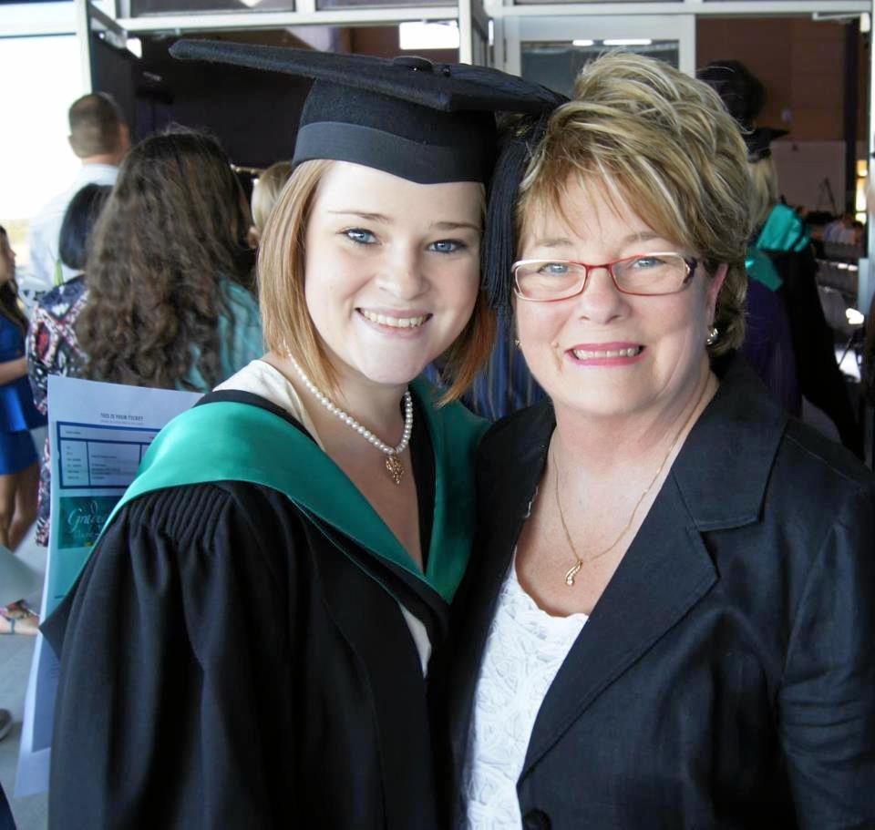 Renee Falconer with her mum, Deyarn Vitelli, at her university graduation in 2012.