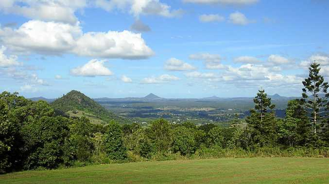 The view from the Jame McKane Lookout Park, also known as the Tablelands Lookout, at Cooran in the Noosa hinterland.