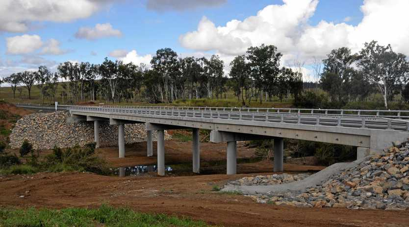 OPEN ROAD: Work completed on Monto-Mount Perry Road bridge, with two lanes of traffic.