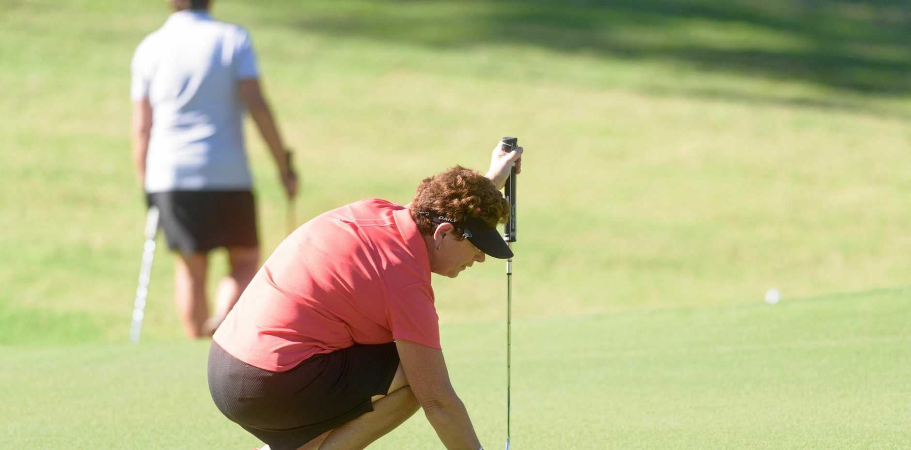 HOME COURSE BEST: Janette Blair of Grafton lines up a putt on the 9th hole on the first day of the Ladies May Tournament at Grafton Golf Club.