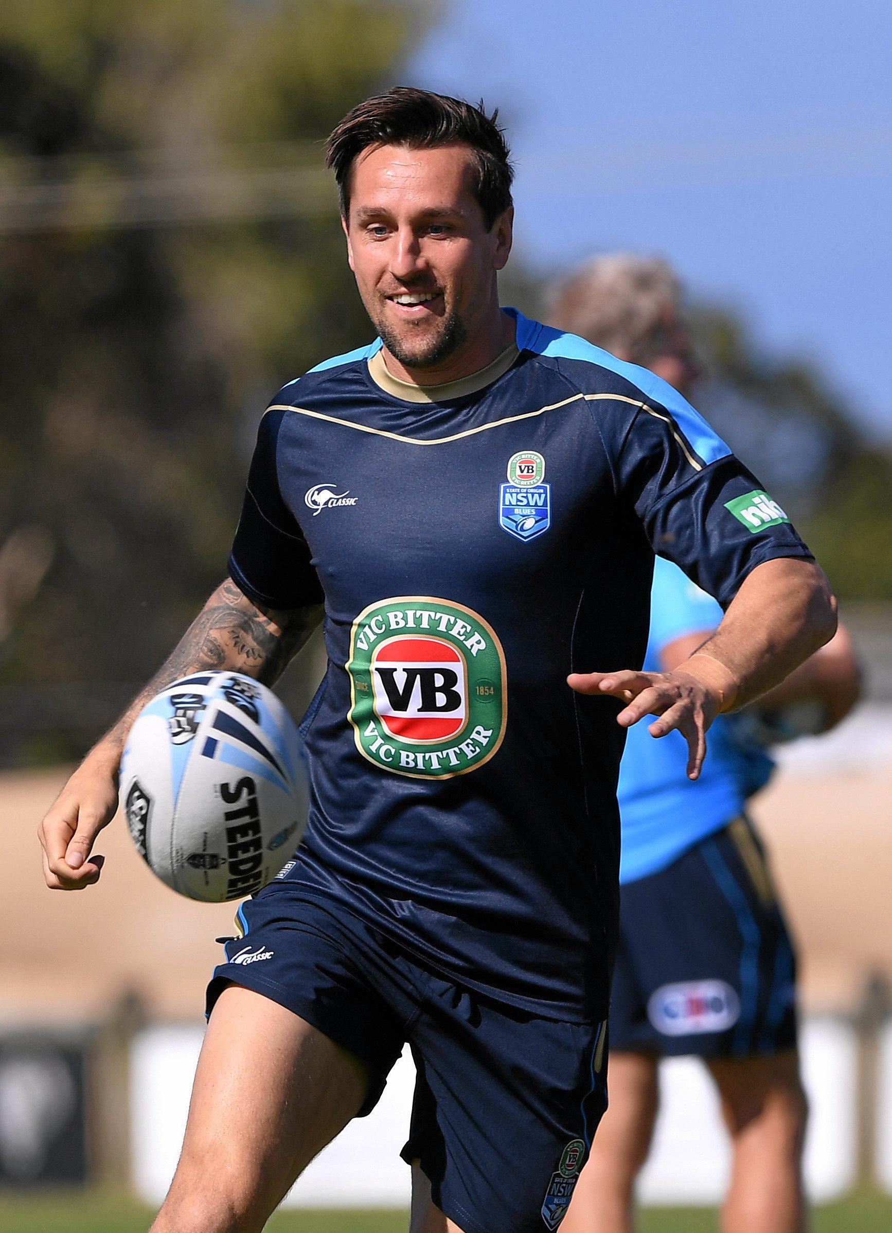 Mitchell Pearce during a New South Wales State of Origin training session at Cudgen.