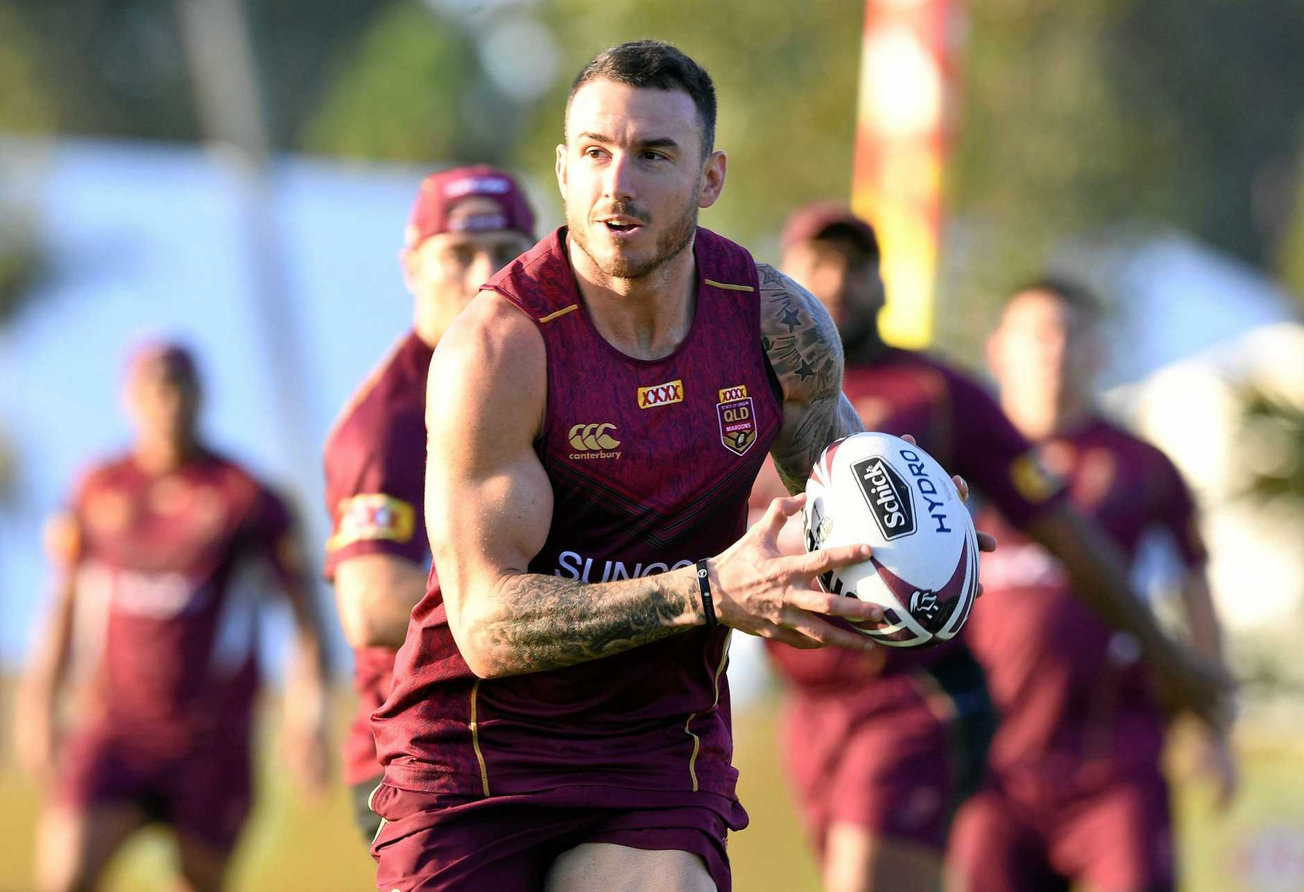 Darius Boyd during a Maroons training session.