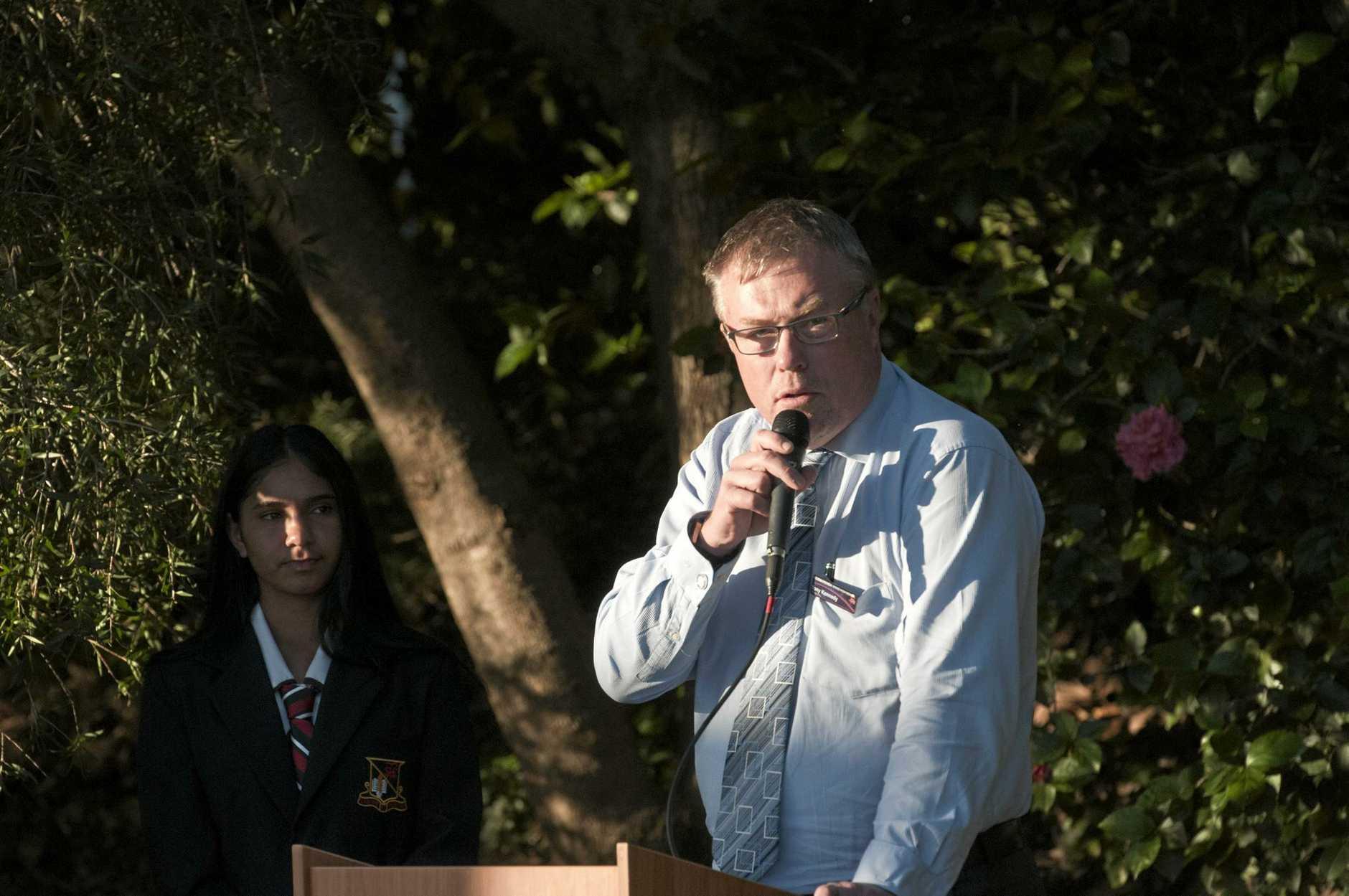 Toowoomba State High School principal Tony Kennedy talks at the school's Yarning Circle opening, Thursday, May 25, 2017.