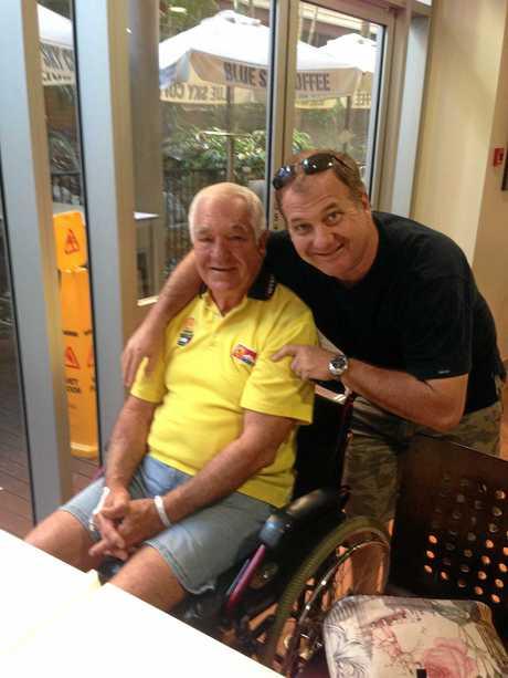 Doug Webber visiting his dad Jim at the Holy Spirit Northside Private Hospital in Brisbane.
