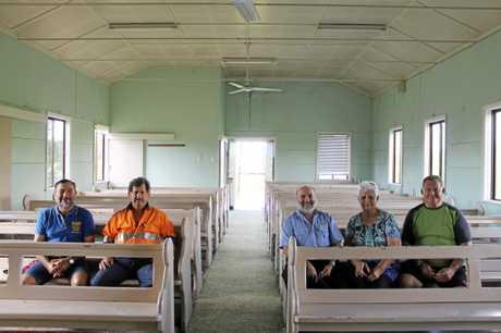 Habana residents Cr Laurence Bonaventura, Jim Attard, Peter Bonaventura, Margaret Borg and Steve Kelly in the old church building.
