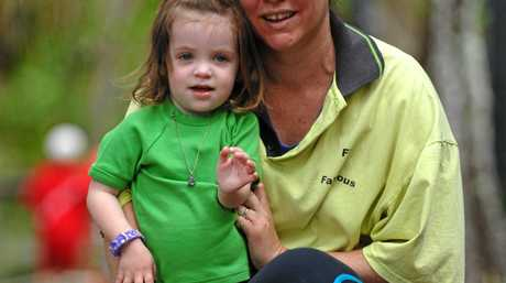 Sophie and Evie in 2007, preparing for the Great Walk For Cystic Fibrosis at Mooloolaba.