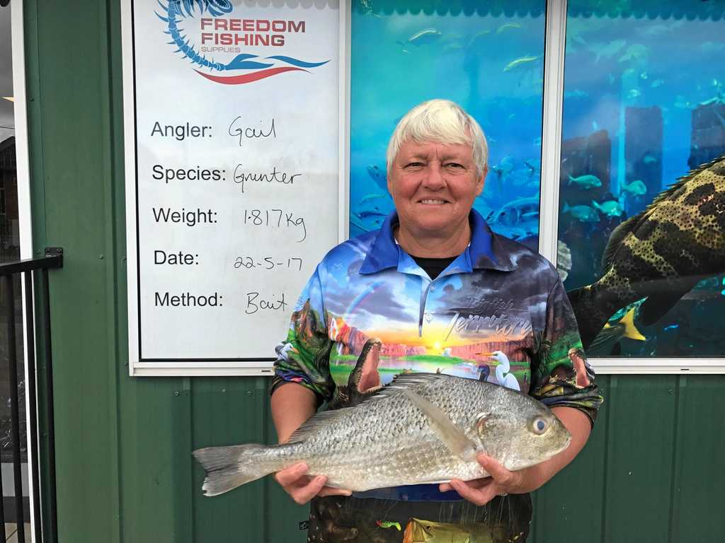 Gail Sauer with a respectable 1.8kg grunter caught on Monday.