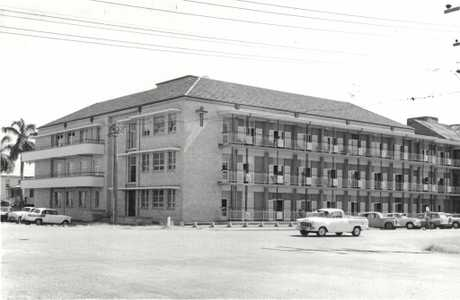 The Mater's new three storey wing at the corner of Gordon and Brisbane streets, Mackay, ready for opening 1962.