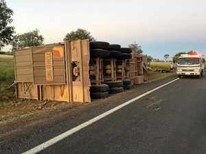Cattle truck trailer rolls on Warrego Hwy