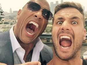 Dwayne 'The Rock' Johnson gives mate Beau Ryan a clip