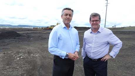 Federal Minister for Infrastructure and Transport Darren Chester (left) with Federal Member for Groom John McVeigh at the site of the Toowoomba Second Range Crossing.
