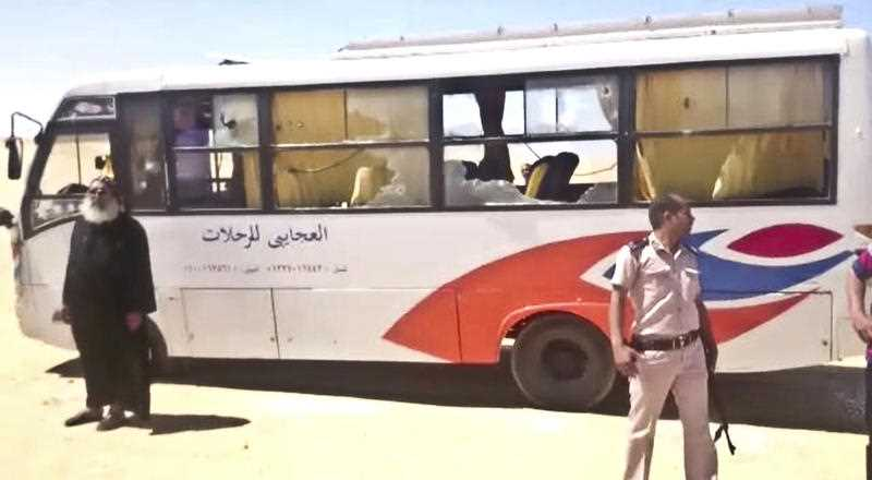Egyptian officials say dozens of people were killed and wounded in an attack by masked militants on a bus carrying Coptic Christians, including children, south of Cairo.